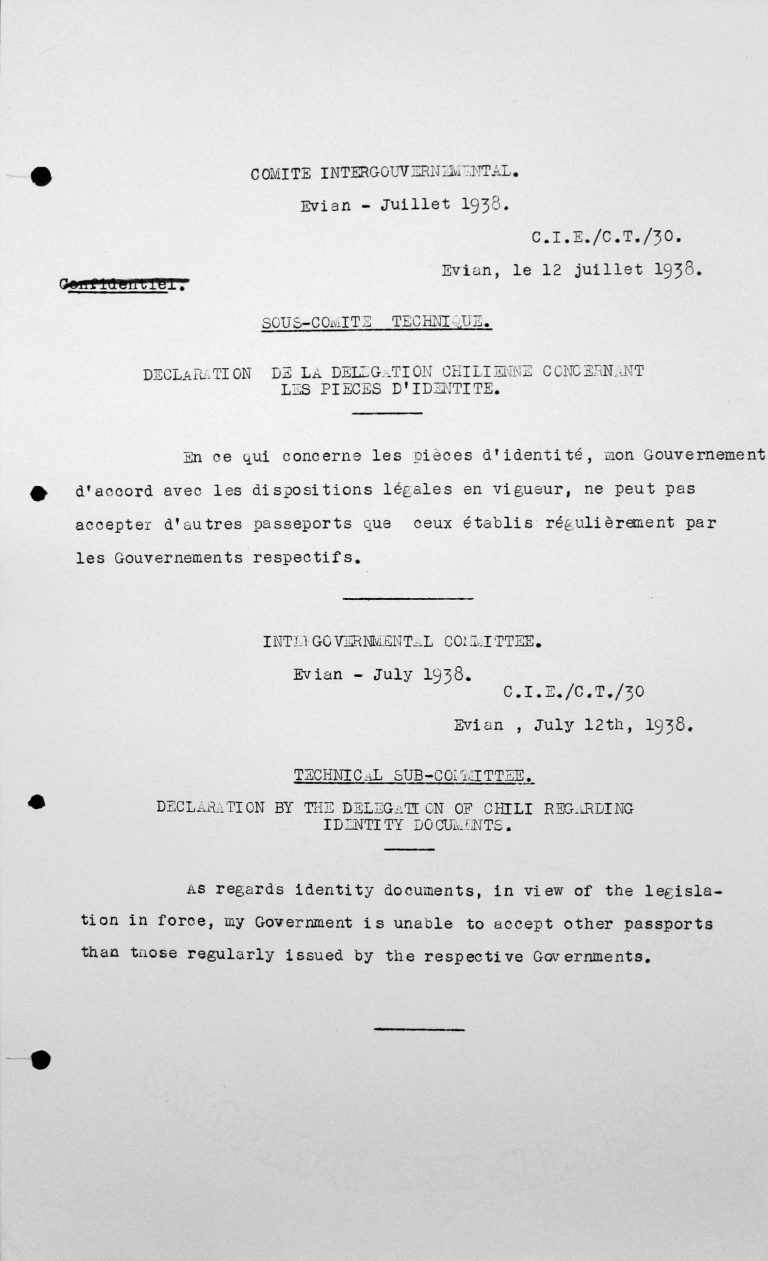 Erklärung der Delegation Chiles für das Technische Unterkomitee betreffend Ausweispapiere, 12. Juli 1938 Franklin D. Roosevelt Library, Hyde Park, NY