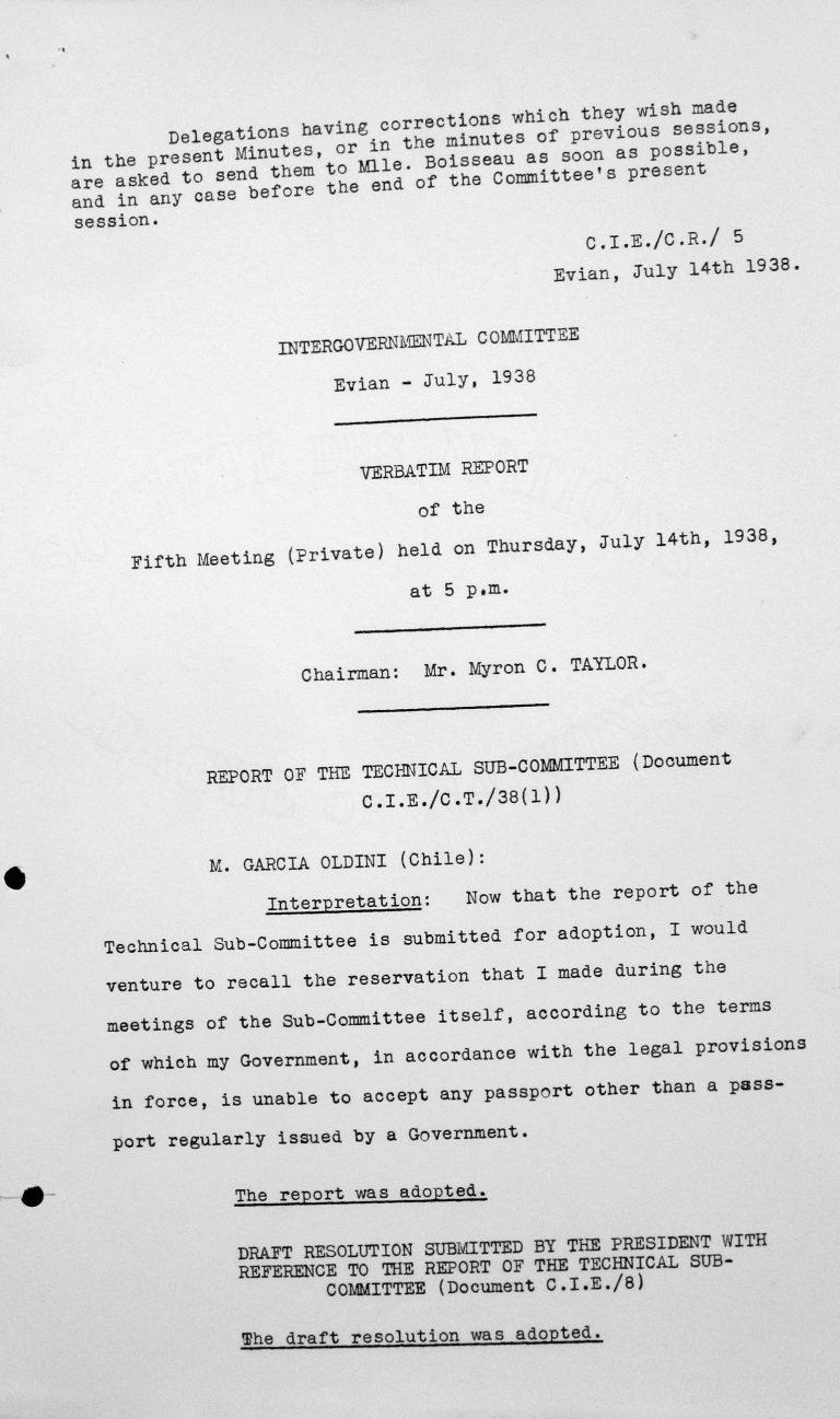 Erklärung von Fernando Garcia Oldini in der nicht-öffentlichen Sitzung am 14. Juli 1938, 17 Uhr Franklin D. Roosevelt Library, Hyde Park, NY