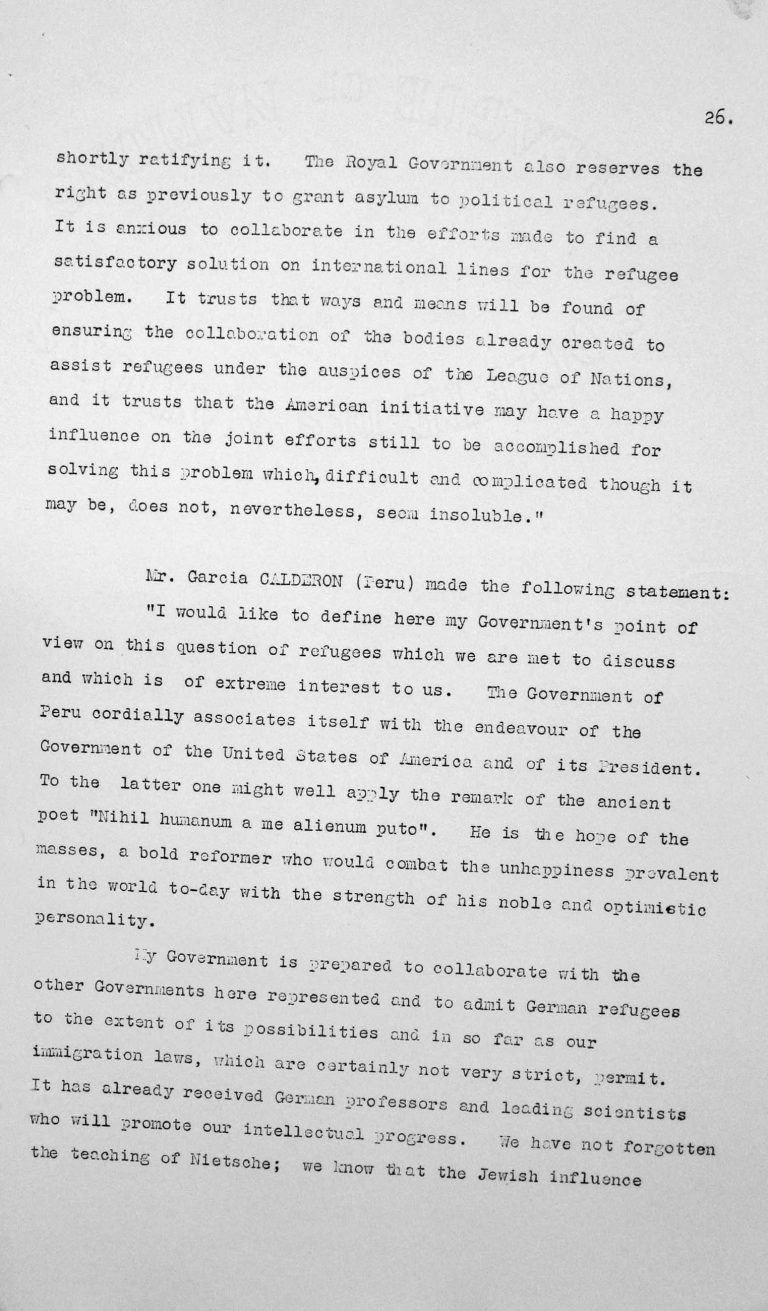 Statement by Francisco Garcia Calderon Rey (Peru) in the public session on July 9, 1938, p. 1/4 Franklin D. Roosevelt Library, Hyde Park, NY