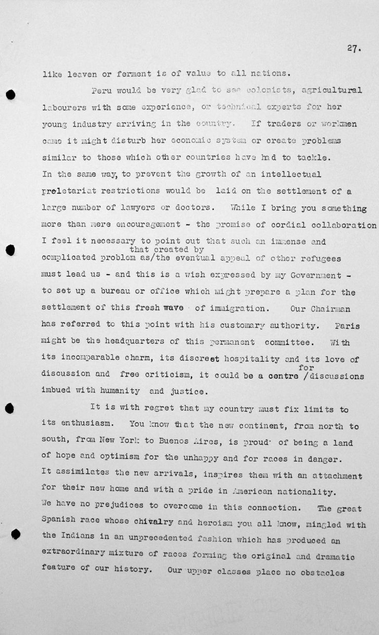 Statement by Francisco Garcia Calderon Rey (Peru) in the public session on July 9, 1938, p. 2/4 Franklin D. Roosevelt Library, Hyde Park, NY