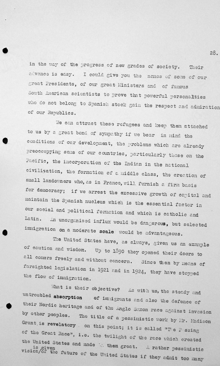 Statement by Francisco Garcia Calderon Rey (Peru) in the public session on July 9, 1938, p. 3/4 Franklin D. Roosevelt Library, Hyde Park, NY