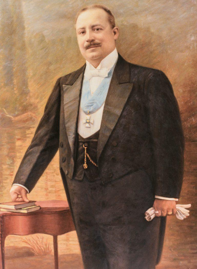 Simón Iturri Patiño, undatiert, auf einem Gemälde von Avelino Nogales Fundación Universitaria Simon Patiño, Cochabamba