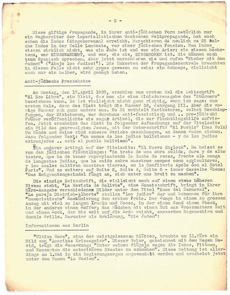 "Augenzeugenbericht über ""Anti-jüdische Pressehetze"" in Bolivien, um 1939 The Wiener Library for the Study of the Holocaust & Genocide, London"