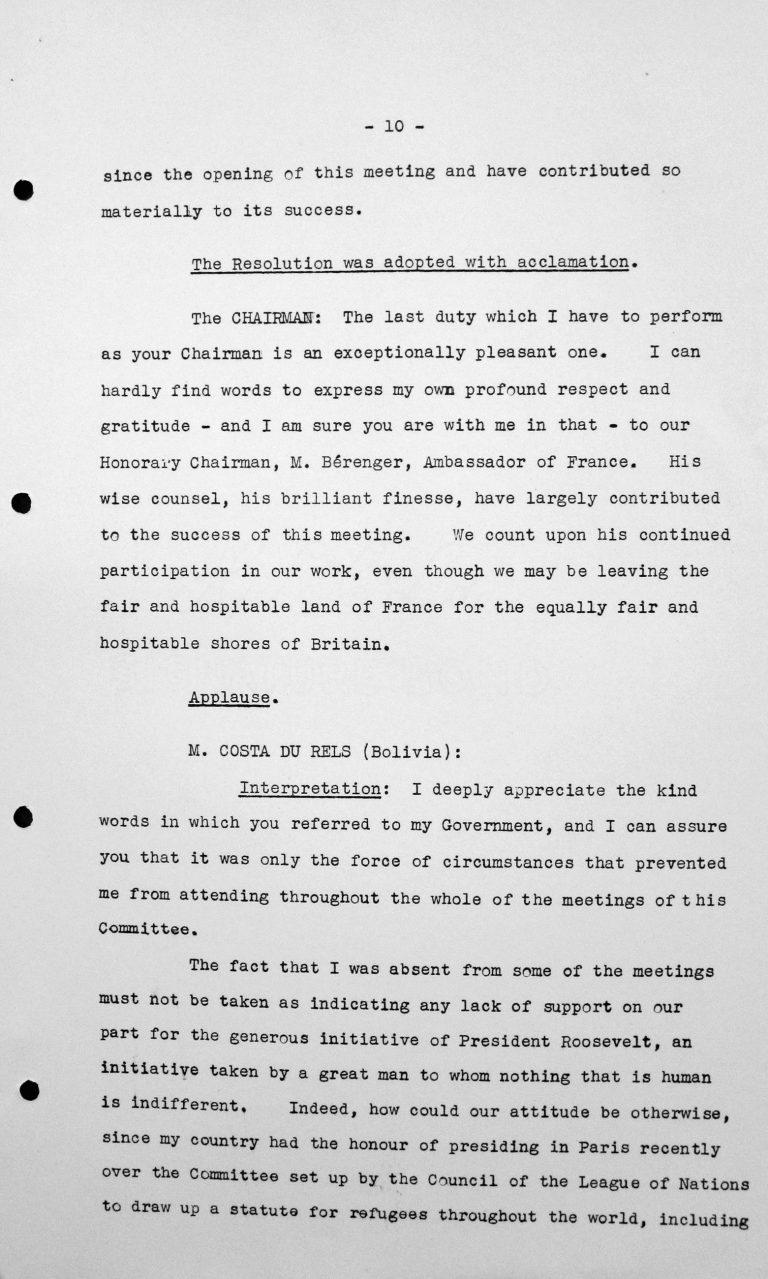 Rede von Adolfo Costa du Rels (Bolivien) in der öffentlichen Sitzung am 15. Juli 1938, 11 Uhr, S. 1/3 Franklin D. Roosevelt Library, Hyde Park, NY