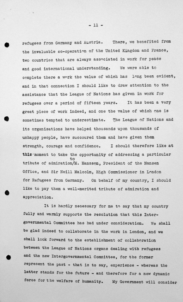 Rede von Adolfo Costa du Rels (Bolivien) in der öffentlichen Sitzung am 15. Juli 1938, 11 Uhr, S. 2/3 Franklin D. Roosevelt Library, Hyde Park, NY