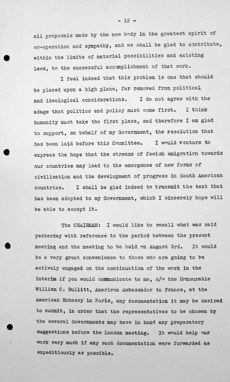 Rede von Adolfo Costa du Rels (Bolivien) in der öffentlichen Sitzung am 15. Juli 1938, 11 Uhr, S. 3/3 Franklin D. Roosevelt Library, Hyde Park, NY