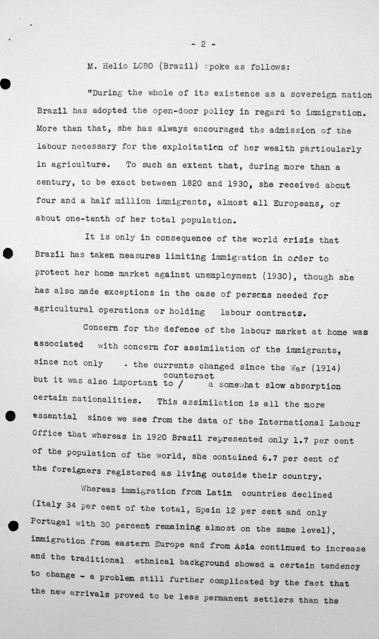 Rede von Hélio Lobo (Brasilien) in der öffentlichen Sitzung am 7. Juli 1938, 15.30 Uhr, S. 1/3 Franklin D. Roosevelt Library, Hyde Park, NY