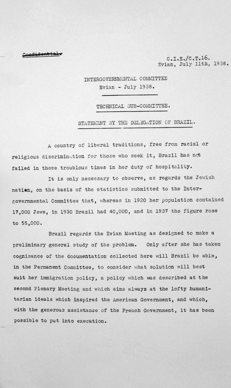 Stellungnahme der Delegation Brasiliens für das Technische Unterkomitee, 11. Juli 1938 Franklin D. Roosevelt Library, Hyde Park, NY
