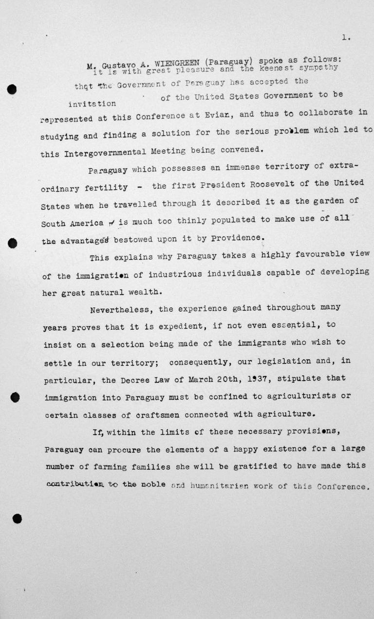 Rede von Gustavo Wiengreen (Paraguay) in der öffentlichen Sitzung am 11. Juli 1938, 11 Uhr Franklin D. Roosevelt Library, Hyde Park, NY