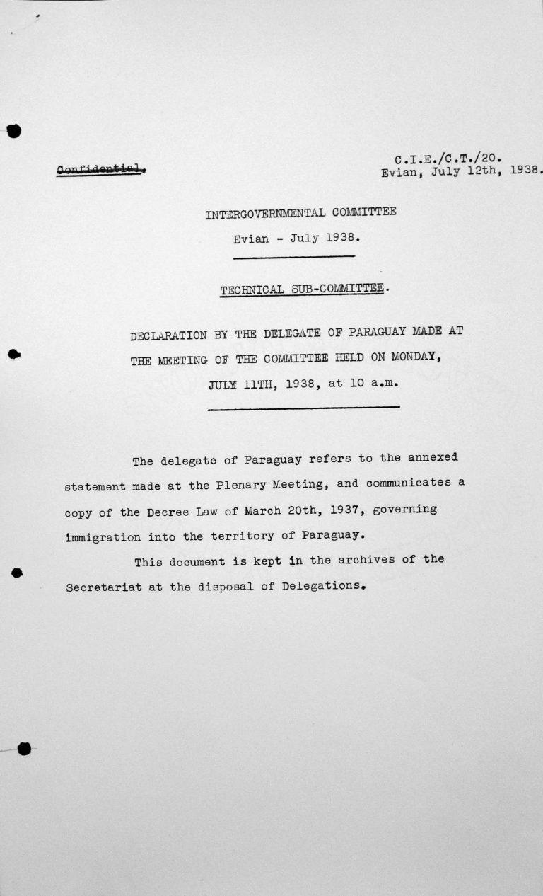 Erklärung des Delegierten Paraguays bei der Sitzung des Komitees am Montag, den 11. Juli 1938, um 10 Uhr Franklin D. Roosevelt Library, Hyde Park, NY
