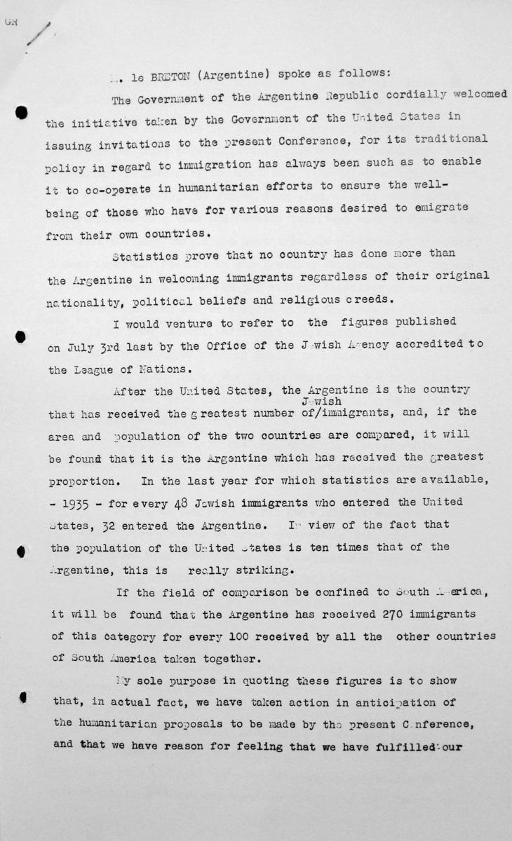 Rede von Tomás Alberto Le Breton (Argentinien) in der öffentlichen Sitzung am 7. Juli 1938, 15.30 Uhr, S. 1/4 Franklin D. Roosevelt Library, Hyde Park, NY