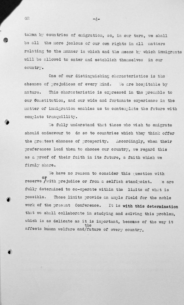 Rede von Tomás Alberto Le Breton (Argentinien) in der öffentlichen Sitzung am 7. Juli 1938, 15.30 Uhr, S. 4/4 Franklin D. Roosevelt Library, Hyde Park, NY