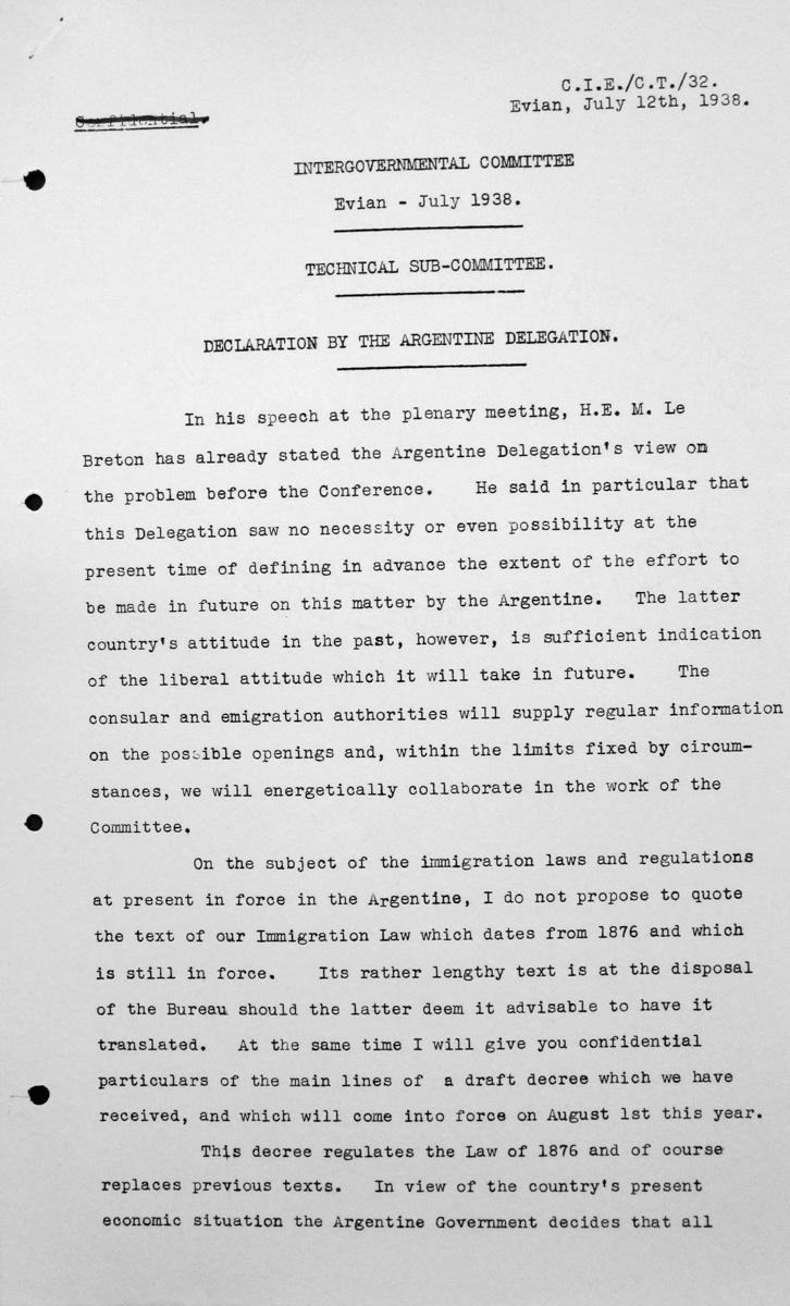 Erklärung der argentinischen Delegation für das Technische Unterkomitee, 12. Juli 1938, S. 1/2 Franklin D. Roosevelt Library, Hyde Park, NY