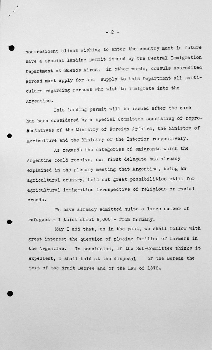 Erklärung der argentinischen Delegation für das Technische Unterkomitee, 12. Juli 1938, S. 2/2 Franklin D. Roosevelt Library, Hyde Park, NY