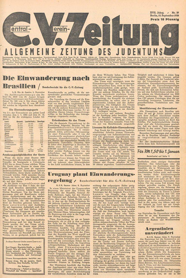 C.V.-Zeitung. Allgemeine Zeitung des Judentums, September 15, 1938 Special report about the planned immigration rules in Uruguay Universitätsbibliothek Johann Christian Senckenberg, Frankfurt am Main