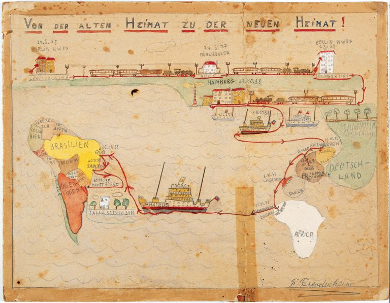 """""""From the old home to the new home,"""" Fritz Freudenheim, 1938 1938 Child's drawing on the occasion of his family's escape to Uruguay Jüdisches Museum Berlin"""