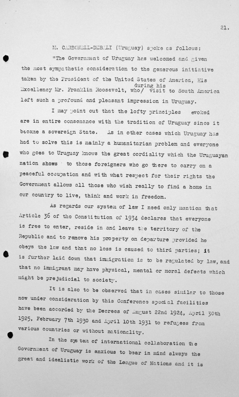 Speech by Alfredo Carbonell Debali (Uruguay) in the public session on July 9, 1938, 11am, p. 1/3 Franklin D. Roosevelt Library, Hyde Park, NY