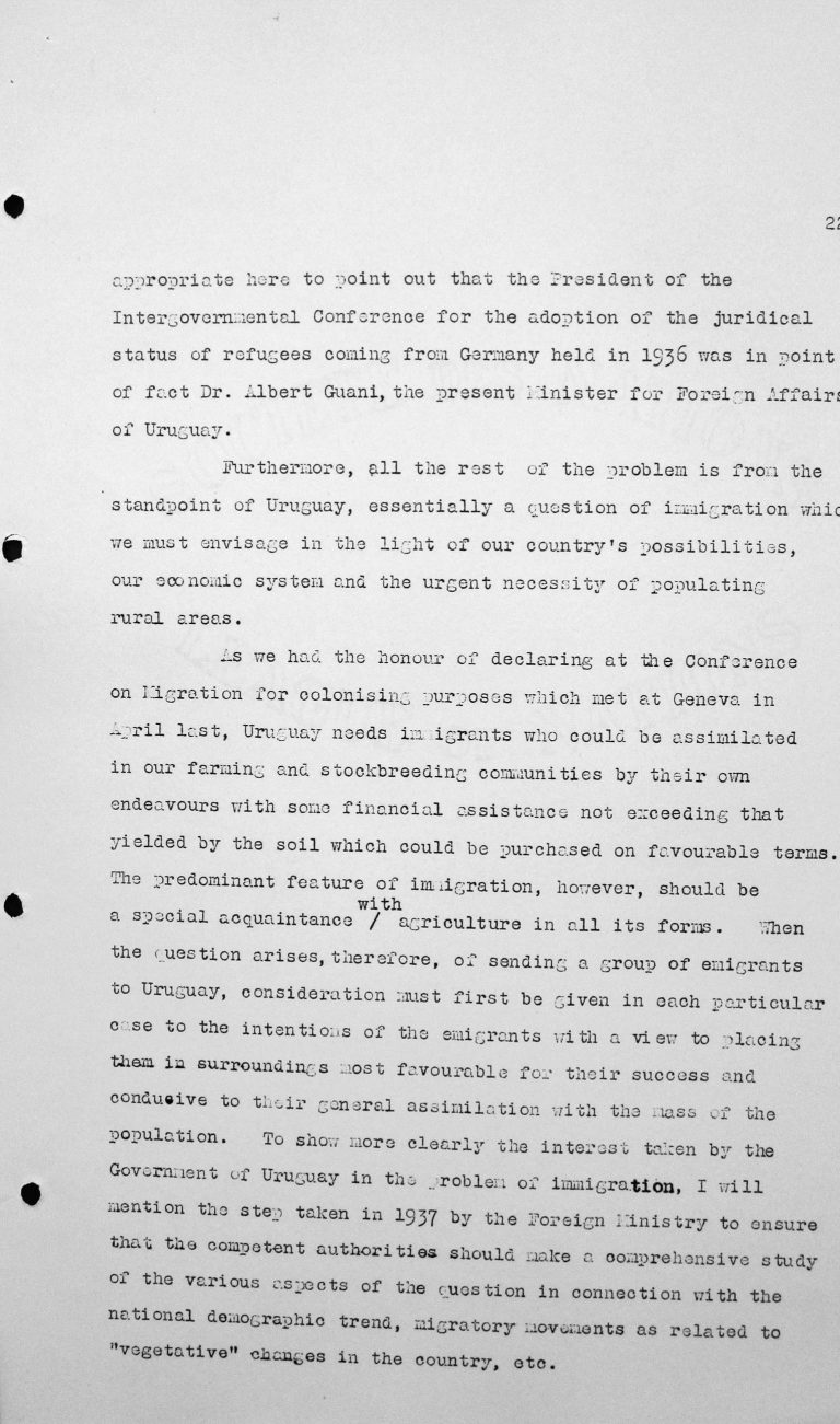 Speech by Alfredo Carbonell Debali (Uruguay) in the public session on July 9, 1938, 11am, p. 2/3 Franklin D. Roosevelt Library, Hyde Park, NY