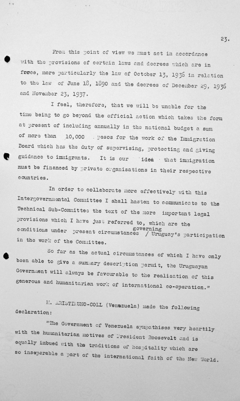 Speech by Alfredo Carbonell Debali (Uruguay) in the public session on July 9, 1938, 11am, p. 3/3 Franklin D. Roosevelt Library, Hyde Park, NY