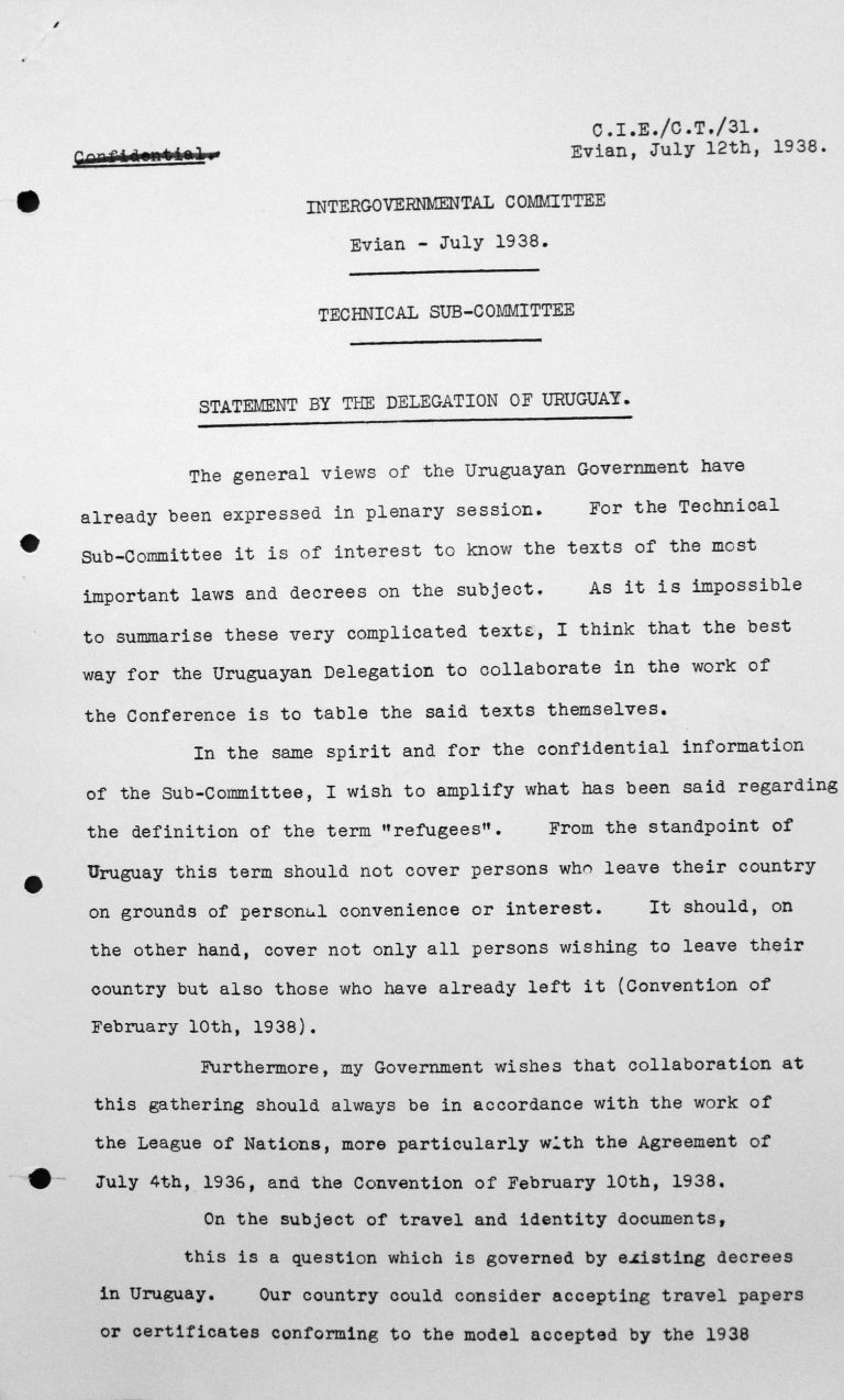 Statement by the delegation of Uruguay to the Technical Sub-Committee, July 12, 1938, p. 1/2 Franklin D. Roosevelt Library, Hyde Park, NY