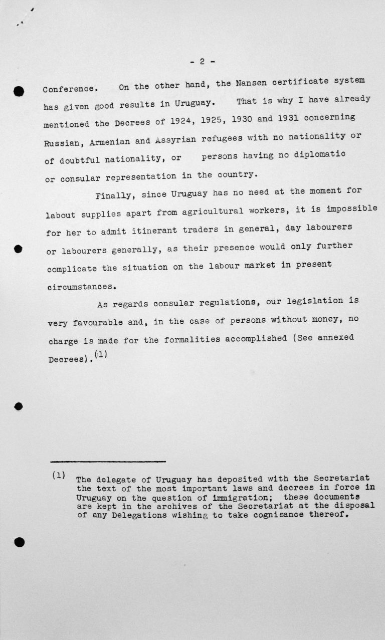 Statement by the delegation of Uruguay to the Technical Sub-Committee, July 12, 1938, p. 2/2 Franklin D. Roosevelt Library, Hyde Park, NY