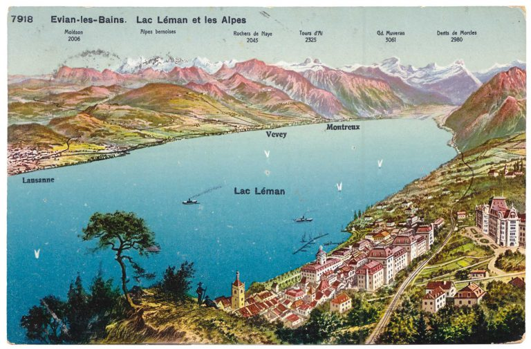 Picture postcard of Évian and Lake Geneva, around 1900 The card depicts a view from the Dent d'Oche, ­Évian's mountain, over the city and Lake Geneva (French: Lac Léman) to the northernmost region of the French Alps. To the far right is the Hotel Royal, the conference venue and accommodation for numerous delegates; to the left is the Hotel Splendide, which houses other delegates, representatives of non-governmental organizations and media representatives. Phototypie Co., Neuchatel