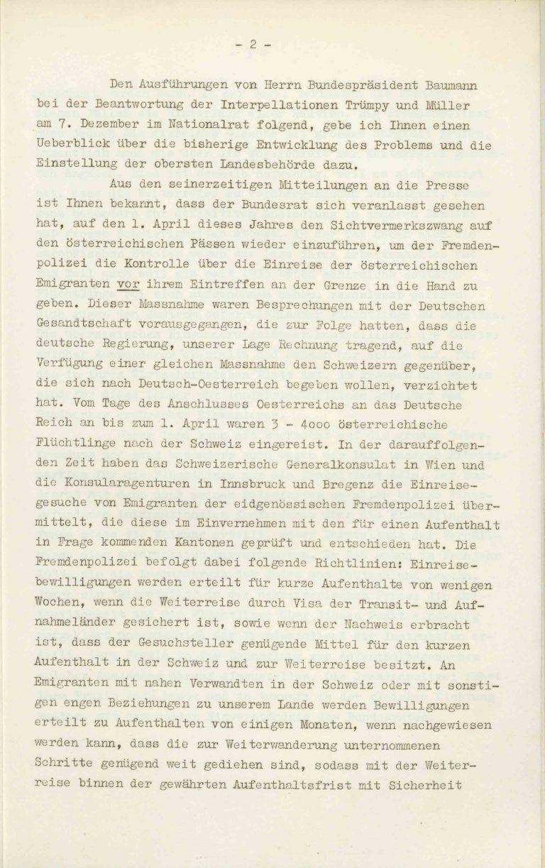 """Heinrich Rothmund, """"Aktuelles aus dem Problem der Überfremdung"""", Manuskript für einen Vortrag vor der Gruppe Aarau der """"Neuen Helvetischen Gesellschaft"""" am 19. Dezember 1938, S. 2/21 Vor derNeuen Helvetischen Gesellschaft, die in dieser Zeit derNeuen Front, einer Gruppe intellektueller Verfechter einer politischen Erneuerung der Schweiz nach faschistischem Vorbild, nahesteht, gibt Rothmund seiner Sorge """"um die Überflutung unseres Landes mit uns fremden Elementen"""" Ausdruck. Archiv für Zeitgeschichte / ETH Zürich"""