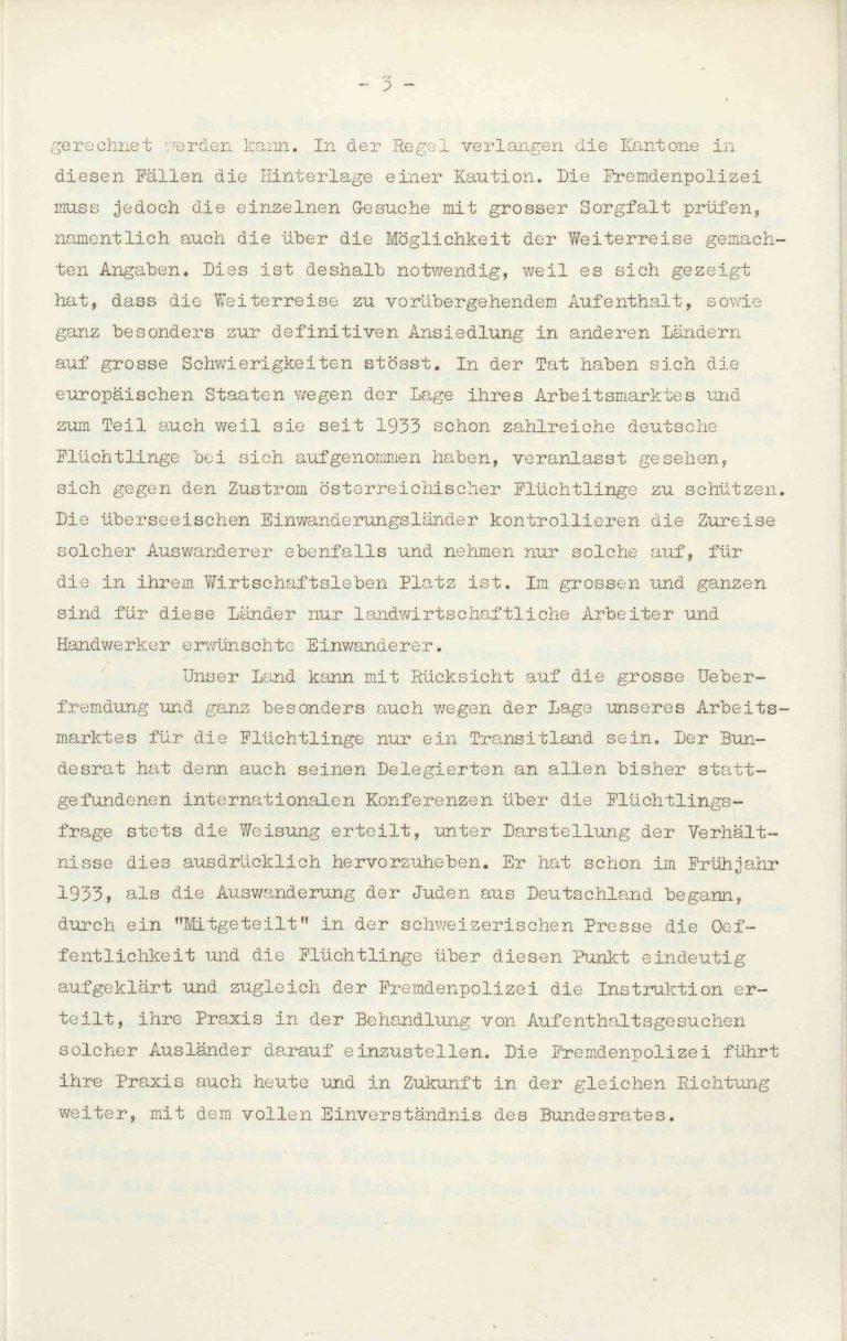 """Heinrich Rothmund, """"Aktuelles aus dem Problem der Überfremdung"""", Manuskript für einen Vortrag vor der Gruppe Aarau der """"Neuen Helvetischen Gesellschaft"""" am 19. Dezember 1938, S. 3/21 Vor derNeuen Helvetischen Gesellschaft, die in dieser Zeit derNeuen Front, einer Gruppe intellektueller Verfechter einer politischen Erneuerung der Schweiz nach faschistischem Vorbild, nahesteht, gibt Rothmund seiner Sorge """"um die Überflutung unseres Landes mit uns fremden Elementen"""" Ausdruck. Archiv für Zeitgeschichte / ETH Zürich"""
