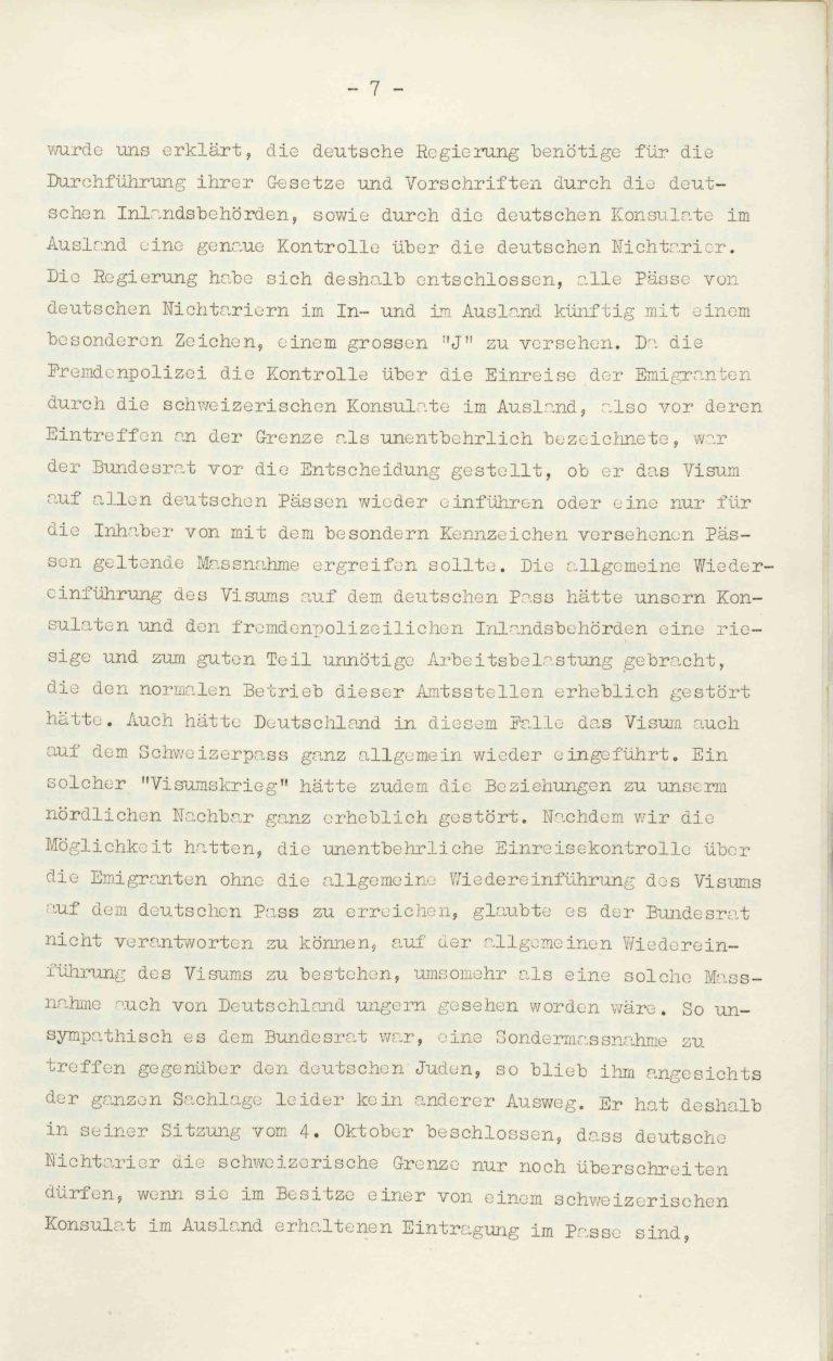 """Heinrich Rothmund, """"Aktuelles aus dem Problem der Überfremdung"""", Manuskript für einen Vortrag vor der Gruppe Aarau der """"Neuen Helvetischen Gesellschaft"""" am 19. Dezember 1938, S. 7/21 Vor derNeuen Helvetischen Gesellschaft, die in dieser Zeit derNeuen Front, einer Gruppe intellektueller Verfechter einer politischen Erneuerung der Schweiz nach faschistischem Vorbild, nahesteht, gibt Rothmund seiner Sorge """"um die Überflutung unseres Landes mit uns fremden Elementen"""" Ausdruck. Archiv für Zeitgeschichte / ETH Zürich"""