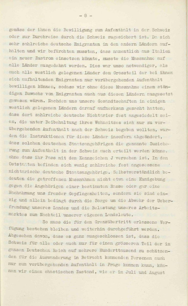 """Heinrich Rothmund, """"Aktuelles aus dem Problem der Überfremdung"""", Manuskript für einen Vortrag vor der Gruppe Aarau der """"Neuen Helvetischen Gesellschaft"""" am 19. Dezember 1938, S. 8/21 Vor derNeuen Helvetischen Gesellschaft, die in dieser Zeit derNeuen Front, einer Gruppe intellektueller Verfechter einer politischen Erneuerung der Schweiz nach faschistischem Vorbild, nahesteht, gibt Rothmund seiner Sorge """"um die Überflutung unseres Landes mit uns fremden Elementen"""" Ausdruck. Archiv für Zeitgeschichte / ETH Zürich"""