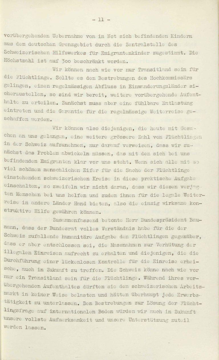 """Heinrich Rothmund, """"Aktuelles aus dem Problem der Überfremdung"""", Manuskript für einen Vortrag vor der Gruppe Aarau der """"Neuen Helvetischen Gesellschaft"""" am 19. Dezember 1938, S. 11/21 Vor derNeuen Helvetischen Gesellschaft, die in dieser Zeit derNeuen Front, einer Gruppe intellektueller Verfechter einer politischen Erneuerung der Schweiz nach faschistischem Vorbild, nahesteht, gibt Rothmund seiner Sorge """"um die Überflutung unseres Landes mit uns fremden Elementen"""" Ausdruck. Archiv für Zeitgeschichte / ETH Zürich"""