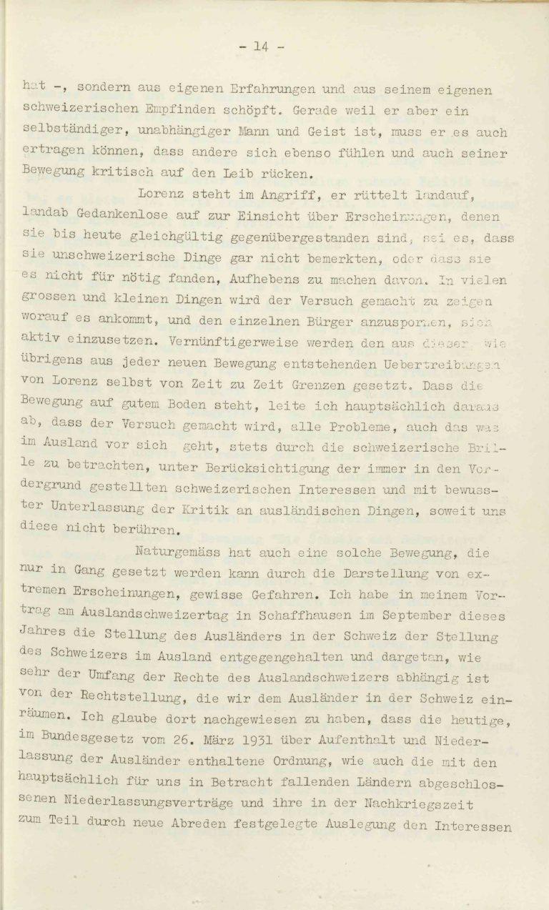"""Heinrich Rothmund, """"Aktuelles aus dem Problem der Überfremdung"""", Manuskript für einen Vortrag vor der Gruppe Aarau der """"Neuen Helvetischen Gesellschaft"""" am 19. Dezember 1938, S. 14/21 Vor derNeuen Helvetischen Gesellschaft, die in dieser Zeit derNeuen Front, einer Gruppe intellektueller Verfechter einer politischen Erneuerung der Schweiz nach faschistischem Vorbild, nahesteht, gibt Rothmund seiner Sorge """"um die Überflutung unseres Landes mit uns fremden Elementen"""" Ausdruck. Archiv für Zeitgeschichte / ETH Zürich"""