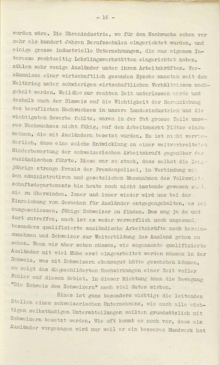 """Heinrich Rothmund, """"Aktuelles aus dem Problem der Überfremdung"""", Manuskript für einen Vortrag vor der Gruppe Aarau der """"Neuen Helvetischen Gesellschaft"""" am 19. Dezember 1938, S. 16/21 Vor derNeuen Helvetischen Gesellschaft, die in dieser Zeit derNeuen Front, einer Gruppe intellektueller Verfechter einer politischen Erneuerung der Schweiz nach faschistischem Vorbild, nahesteht, gibt Rothmund seiner Sorge """"um die Überflutung unseres Landes mit uns fremden Elementen"""" Ausdruck. Archiv für Zeitgeschichte / ETH Zürich"""