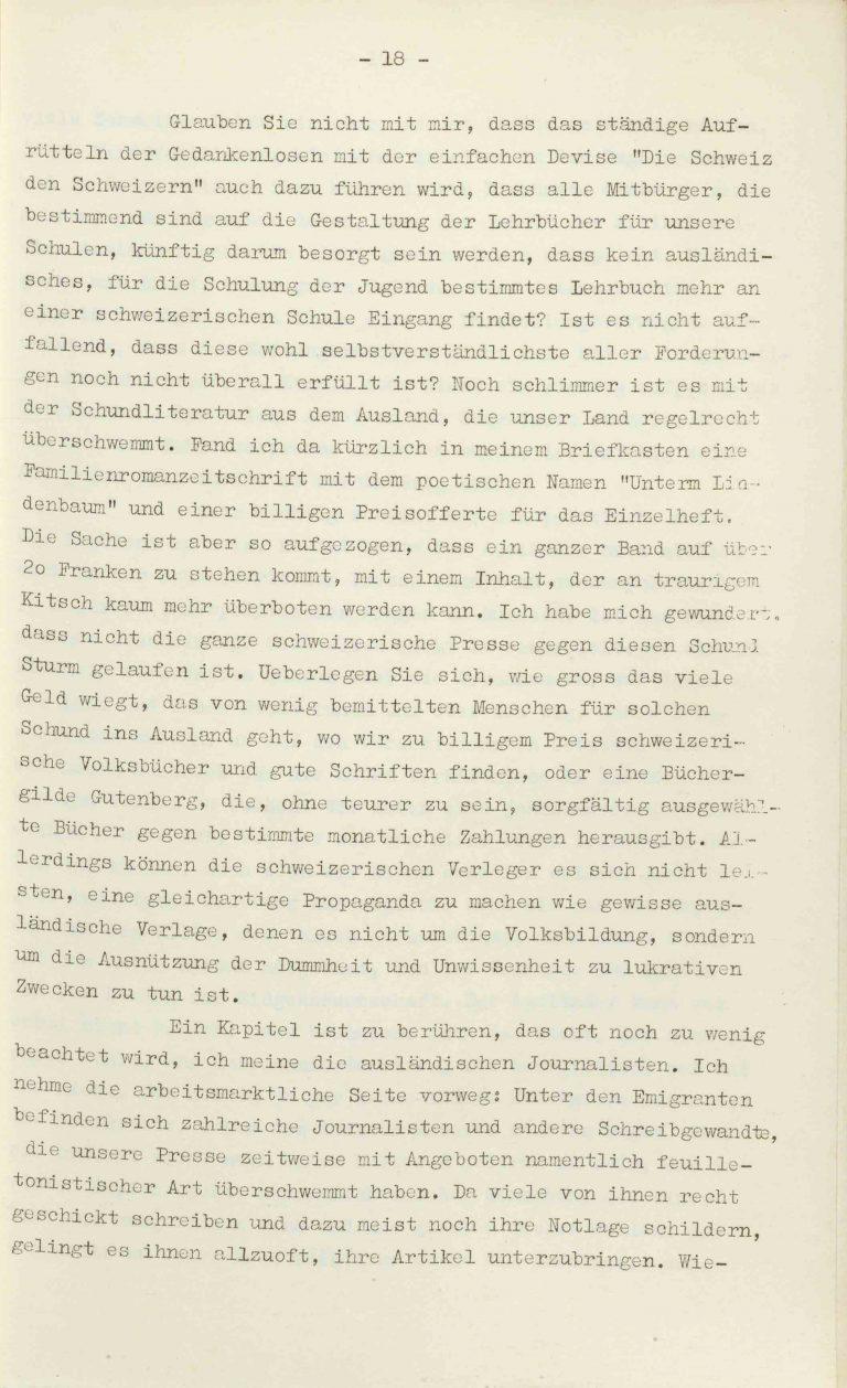 """Heinrich Rothmund, """"Aktuelles aus dem Problem der Überfremdung"""", Manuskript für einen Vortrag vor der Gruppe Aarau der """"Neuen Helvetischen Gesellschaft"""" am 19. Dezember 1938, S. 18/21 Vor derNeuen Helvetischen Gesellschaft, die in dieser Zeit derNeuen Front, einer Gruppe intellektueller Verfechter einer politischen Erneuerung der Schweiz nach faschistischem Vorbild, nahesteht, gibt Rothmund seiner Sorge """"um die Überflutung unseres Landes mit uns fremden Elementen"""" Ausdruck. Archiv für Zeitgeschichte / ETH Zürich"""
