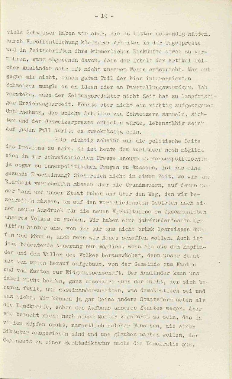 """Heinrich Rothmund, """"Aktuelles aus dem Problem der Überfremdung"""", Manuskript für einen Vortrag vor der Gruppe Aarau der """"Neuen Helvetischen Gesellschaft"""" am 19. Dezember 1938, S. 19/21 Vor derNeuen Helvetischen Gesellschaft, die in dieser Zeit derNeuen Front, einer Gruppe intellektueller Verfechter einer politischen Erneuerung der Schweiz nach faschistischem Vorbild, nahesteht, gibt Rothmund seiner Sorge """"um die Überflutung unseres Landes mit uns fremden Elementen"""" Ausdruck. Archiv für Zeitgeschichte / ETH Zürich"""