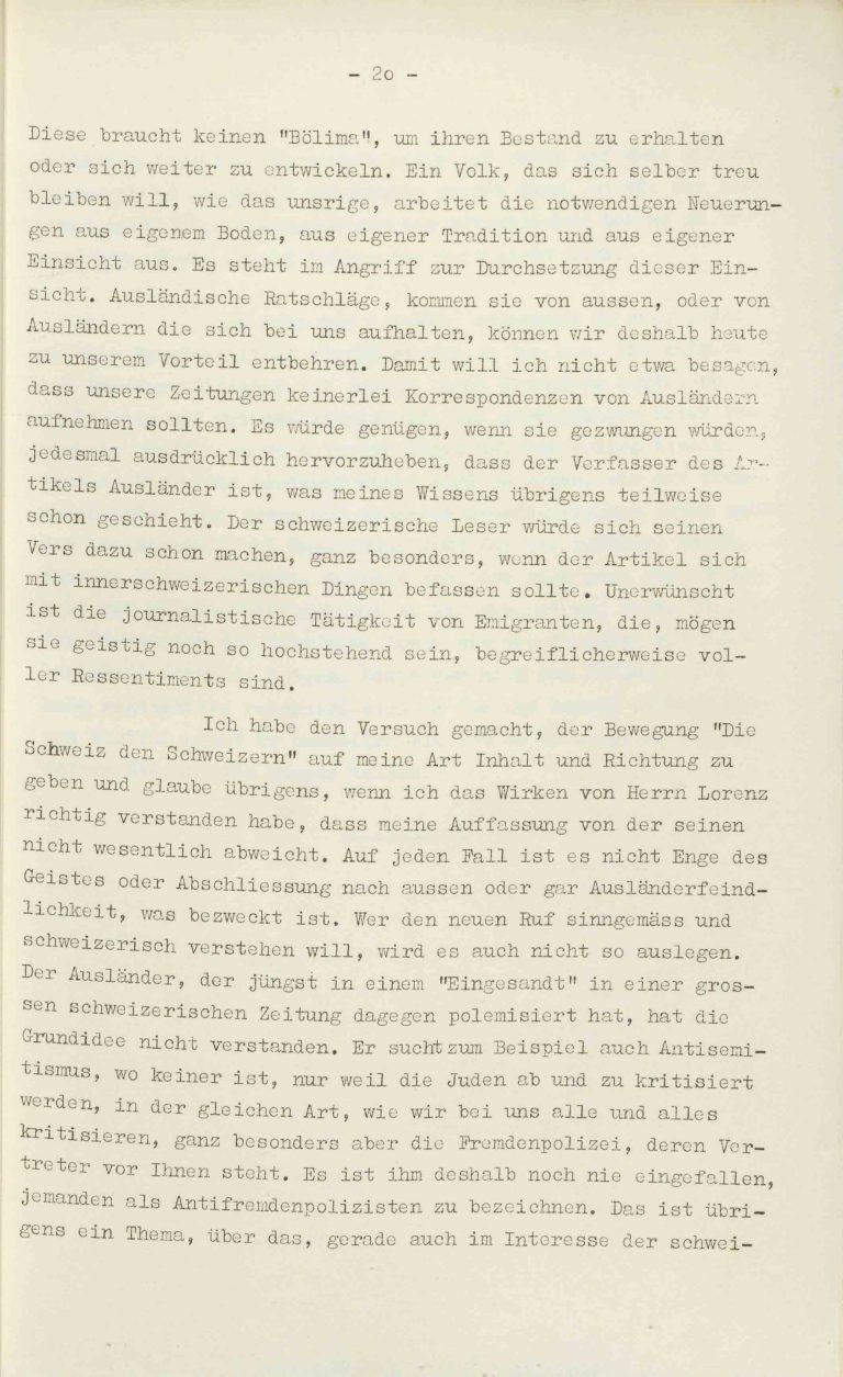 """Heinrich Rothmund, """"Aktuelles aus dem Problem der Überfremdung"""", Manuskript für einen Vortrag vor der Gruppe Aarau der """"Neuen Helvetischen Gesellschaft"""" am 19. Dezember 1938, S. 20/21 Vor derNeuen Helvetischen Gesellschaft, die in dieser Zeit derNeuen Front, einer Gruppe intellektueller Verfechter einer politischen Erneuerung der Schweiz nach faschistischem Vorbild, nahesteht, gibt Rothmund seiner Sorge """"um die Überflutung unseres Landes mit uns fremden Elementen"""" Ausdruck. Archiv für Zeitgeschichte / ETH Zürich"""