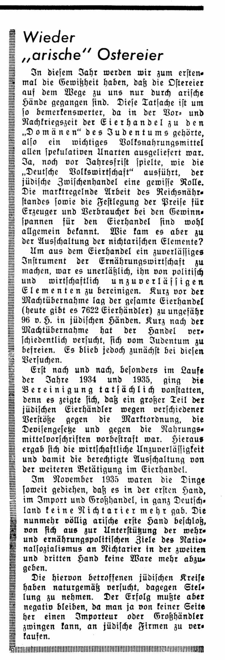 """""""Aryan Easter Eggs Back Again"""" Official harassment and boycott actions by non-Jewish competitors force Jews to close their businesses, such as the egg trade, even before the enactment of laws officially excluding them from professional life. Der Angriff, April 10, 1936"""