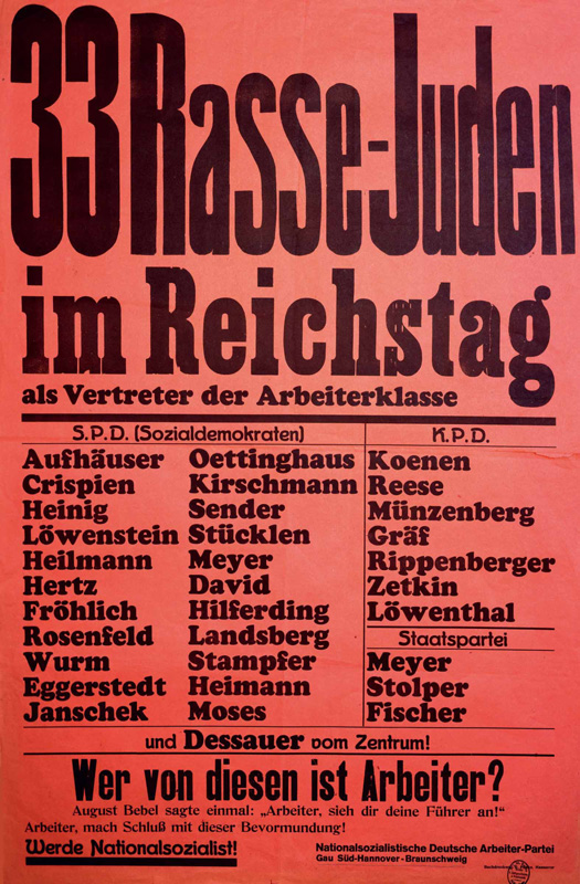"Nazi Party Poster: ""33 Racial Jews in the Reichstag as Representatives of the Working Class,"" ca. 1930 The Nazis persecute Jewish officials from the Social Democratic and Communist parties with particular hatred. Bundesarchiv, Koblenz, Plakatsammlung"