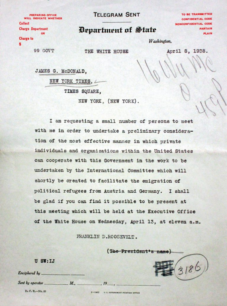 President Roosevelt to James G. McDonald, April 8, 1938 Franklin D. Roosevelt Library, Hyde Park, NY