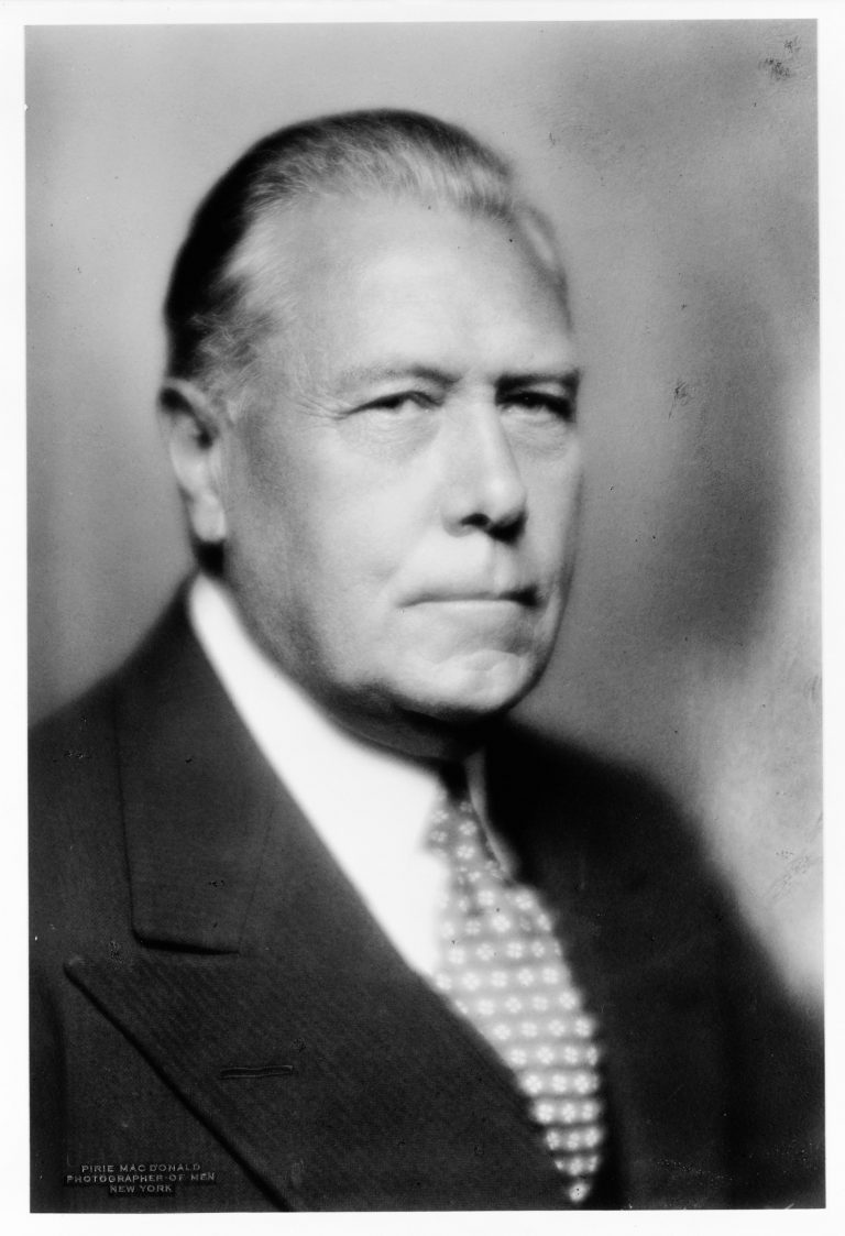 "Myron C. Taylor, 1936  Soon afterward, President Roosevelt appoints the lawyer and steel industrialist Myron C. Taylor as the chief American delegate to the conference. Taylor has successfully guided U.S. Steelthrough the economic crisis, worked with unions and supported Roosevelt in his election campaigns. The President entrusts him with ""bringing these people together"" at the planned refugee conference. Photo: Pirie MacDonald / Library of Congress, Washington DC., Prints & Photographs Division, LC-USZ62-100836"