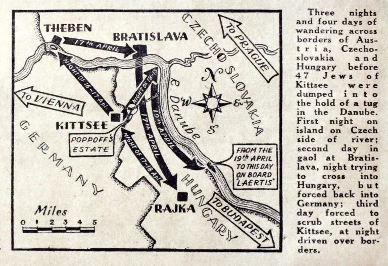"Illustration from the article, ""47 Refugees Deported,"" Daily News & Chronicle, August 8, 1938 The Jews of Kittsee, whom the SA have abandoned on a breakwater in the Danube River, are shoved back and forth between German Reich territory, Czechoslovakia and Hungary until 47 of them are placed on the Laertes. Not until September 1938 are 26 of them permitted to travel to Palestine, with British student visas. The rest are taken in by the US and Bolivia. Schweizerisches Bundesarchiv, Bern, E4800.1#1000867#60"